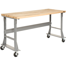 "72""W x 36""D Mobile Workbench - Maple Butcher Block Square Edge - Gray"