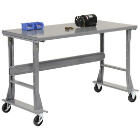 "48""W x 30""D Mobile Workbench - Steel - Gray"