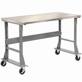 "60""W x 30""D Mobile Workbench - Stainless Steel"