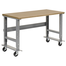 "72""W x 30""D Mobile Workbench - Shop Top Square Edge - Gray"