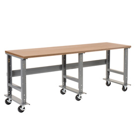 "96""W x 36""D Mobile Workbench - Shop Top Square Edge - Gray"