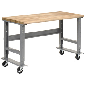 "72""W x 30""D Mobile Workbench - Maple Butcher Block Safety Edge - Gray"