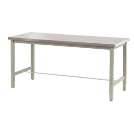 "72""W x 30""D Lab Bench - Stainless Steel Square Edge - Tan"
