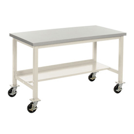 "60""W X 36""D Mobile Plastic Laminate Safety Edge Lab Bench - Tan"