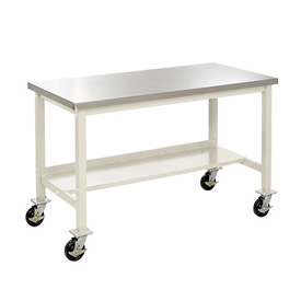 "72""W X 30""D Mobile Stainless Steel Square Edge Lab Bench - Tan"