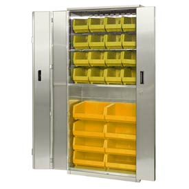 "Pucel Stainless Steel BiFold Door Cabinet BDSC-SS-3678-18 with 24 Yellow Bins 36""wx18""Dx78""H No Legs"