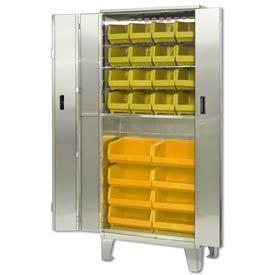 "Pucel Stainless Steel BiFold Door Cabinet BDSC-SS-3678-18 with 24 Yellow Bins 36""wx18""Dx84""H w/ Legs"