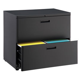 "Interion® 30"" Lateral File Cabinet 2 Drawer Charcoal"