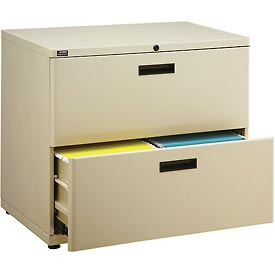 "Interion® 30"" Lateral File Cabinet 2 Drawer Putty"