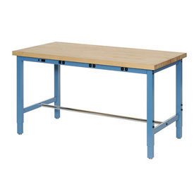 "60""W x 24""D Packaging Workbench with Power Apron - Maple Butcher Block Square Edge - Blue"