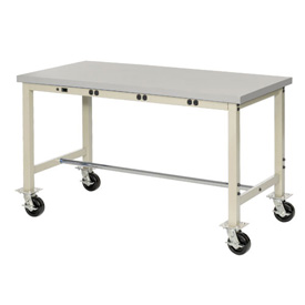 "72""W X 36""D Mobile Lab Bench with Power Apron - Plastic Laminate Square Edge - Tan"