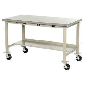 "60""W X 36""D Mobile Lab Bench with Power Apron - Plastic Laminate Safety Edge - Tan"