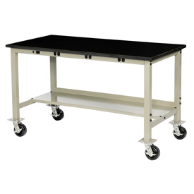 """60""""W X 36""""D Mobile Lab Bench with Power Apron - Phenolic Safety Edge - Tan"""