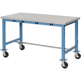 "60""W x 24""D Mobile Packaging Workbench with Power Apron - Plastic Laminate Square Edge - Blue"