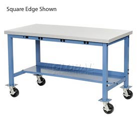 "72""W x 30""D Mobile Packaging Workbench with Power Apron - Plastic Laminate Safety Edge - Blue"