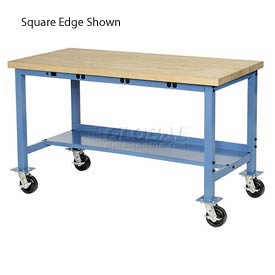 "72""W x 30""D Mobile Packaging Workbench with Power Apron - Maple Butcher Block Safety Edge - Blue"