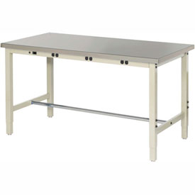 "72""W x 30""D Lab Bench with Power Apron - Stainless Steel Square Edge - Tan"