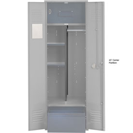 Penco 6CPX270C028 Center Partition For Patriot Locker with Bottom Shelf, 15Dx45H Gray