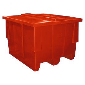 Bayhead SNP-5042-RED Nesting Pallet Container With Lid 50x42x33 1000 Lb Cap. Red