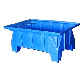 Bayhead HON-40-BLUE Stacking Pallet Container 40x28x18 600 Lb Cap. Blue