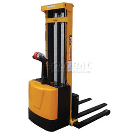 Vestil Fully Powered Stacker S-118-AA 2000 Lb Adj Forks Inside Adj Straddle Legs