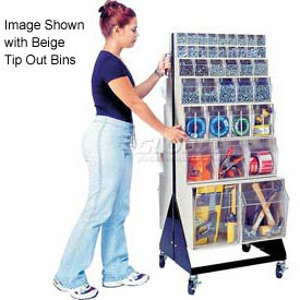 """Quantum Mobile Tip Out Bin Floor Stand QFS248-76+QFS400- Double Sided 48"""" H Gray"""