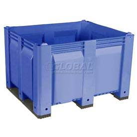 Decade M40SBL3 Pallet Container Solid Wall 48x40x31 Short Side Runners Blue 1500 Lb Capacity
