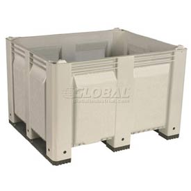 Decade M40SWH3 Pallet Container Solid Wall 48x40x31 Short Side Runners White 1500 Lb Capacity