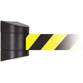 Tensabarrier Black Magnetic Wall Mount 15'L Black/Yellow Chevron Retractable Belt Barrier