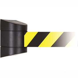 Tensabarrier Black Magnetic Wall Mount 24'L Black/Yellow Chevron Retractable Belt Barrier
