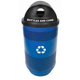 Recycling 55 Gallon Container with Two Plastic Liner & Dome Lid - Hole/Slot