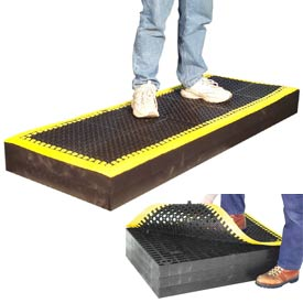 "7/8"" Thick Anti Fatigue Mat - Black with Yellow Border 36X36"