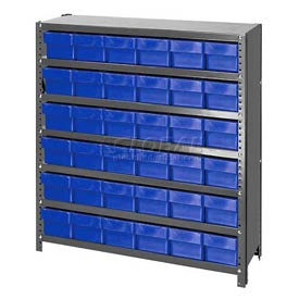 Quantum CL1839-602 Closed Shelving Euro Drawer Unit - 36x18x39 - 36 Euro Drawers Blue