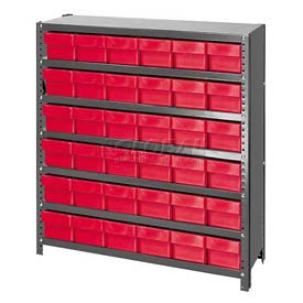 Quantum CL1839-602 Closed Shelving Euro Drawer Unit - 36x18x39 - 36 Euro Drawers Red