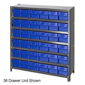 Quantum CL1839-624 Closed Shelving Euro Drawer Unit - 36x18x39 - 45 Euro Drawers Blue