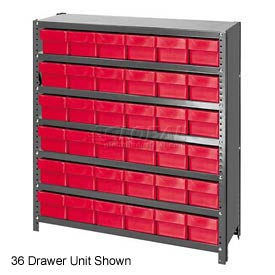 Quantum CL1839-624 Closed Shelving Euro Drawer Unit - 36x18x39 - 45 Euro Drawers Red