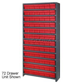 Quantum CL1275-801 Closed Shelving Euro Drawer Unit - 36x12x75 - 36 Euro Drawers Red