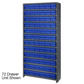 Quantum CL1275-701 Closed Shelving Euro Drawer Unit - 36x12x75 - 48 Euro Drawers Blue