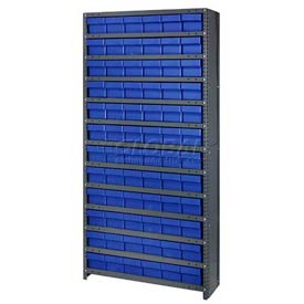 Quantum CL1275-601 Closed Shelving Euro Drawer Unit - 36x12x75 - 72 Euro Drawers Blue