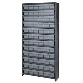 Quantum CL1875-602 Closed Shelving Euro Drawer Unit - 36x18x75 - 72 Euro Drawers Gray