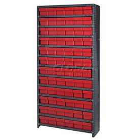 Quantum CL1875-602 Closed Shelving Euro Drawer Unit - 36x18x75 - 72 Euro Drawers Red
