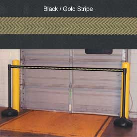 "Economic 49-1/2"" Black Poly Post with 87"" Retractable Tape Black/Gold"