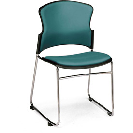 OFM Antimicrobial Stacking Chair - Vinyl - Mid Back - Teal - Pkg Qty 4