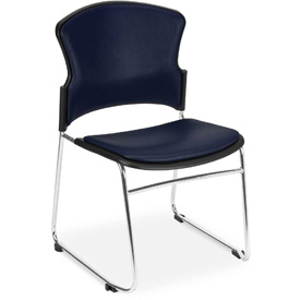 OFM Antimicrobial Stacking Chair - Vinyl - Mid Back - Navy - Pkg Qty 4
