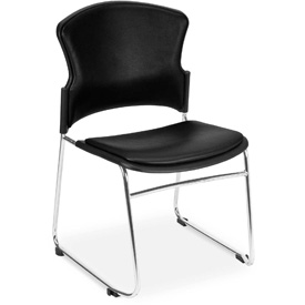OFM Multi-Use Stack Chair with Anti-Microbial/Anti-Bacterial Vinyl Seat and Back, Black - Pkg Qty 4