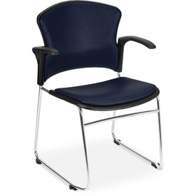 OFM Antimicrobial Stacking Chair with Arms - Vinyl - Mid Back - Navy - Pkg Qty 4