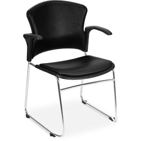 OFM Antimicrobial Stacking Chair with Arms - Vinyl - Mid Back - Black - Pkg Qty 4