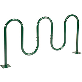 7-Bike Wave Bike Rack, Green, Flange Mount