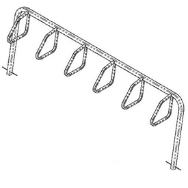 6-Bike City Bicycle Rack, Single Sided, Below Grade Mount