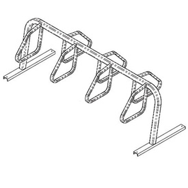 7-Bike City Bicycle Rack, Double Sided, Flange Mount
